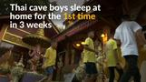 Thailand's cave boys pray at temple after waking up at home for first time in weeks