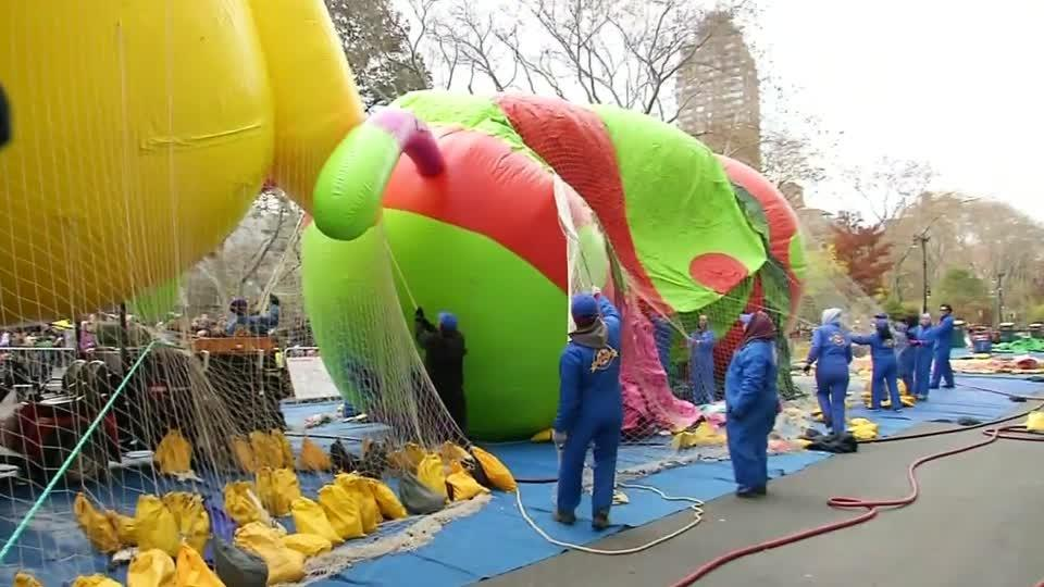 Balloons are inflated for annual Macy's Thanksgiving Day Parade
