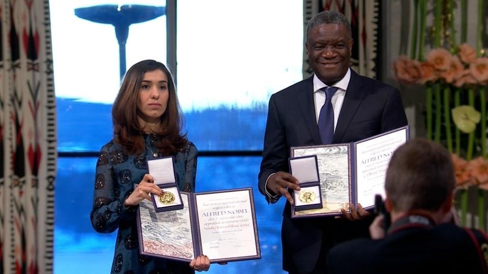 Congolese doctor Denis Mukwege and Yazidi activist Nadia Murad receive the Nobel Peace Prize