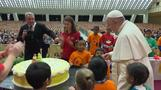 Pope celebrates birthday a day early with sick children