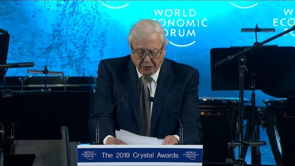 Sir David Attenborough receives Crystal Awards honour in Davos