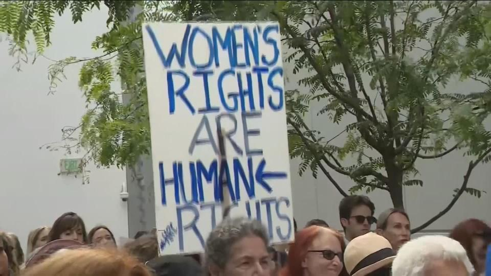 Protesters rally against new state abortion bans