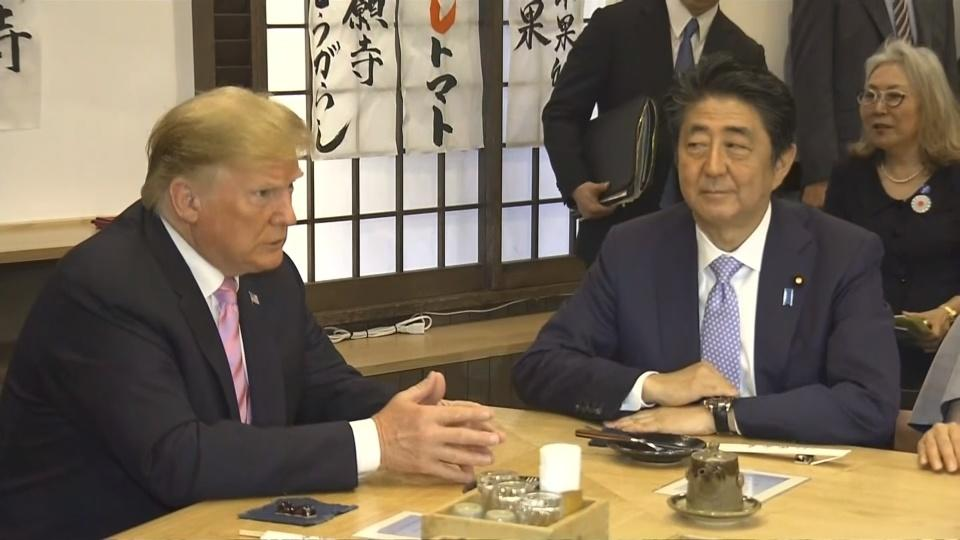 Trade beef aside, Trump and Abe bond over dinner