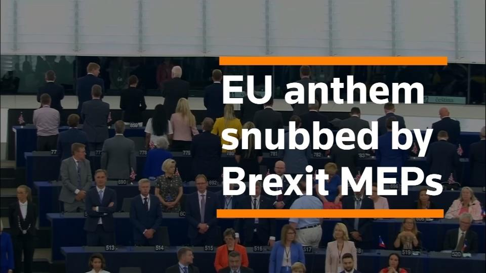 Brexit MEPs turn their backs on the EU anthem | Reuters com