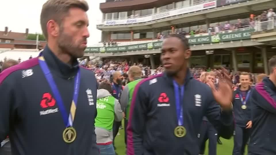 England cricketers celebrate with fans after World Cup triumph