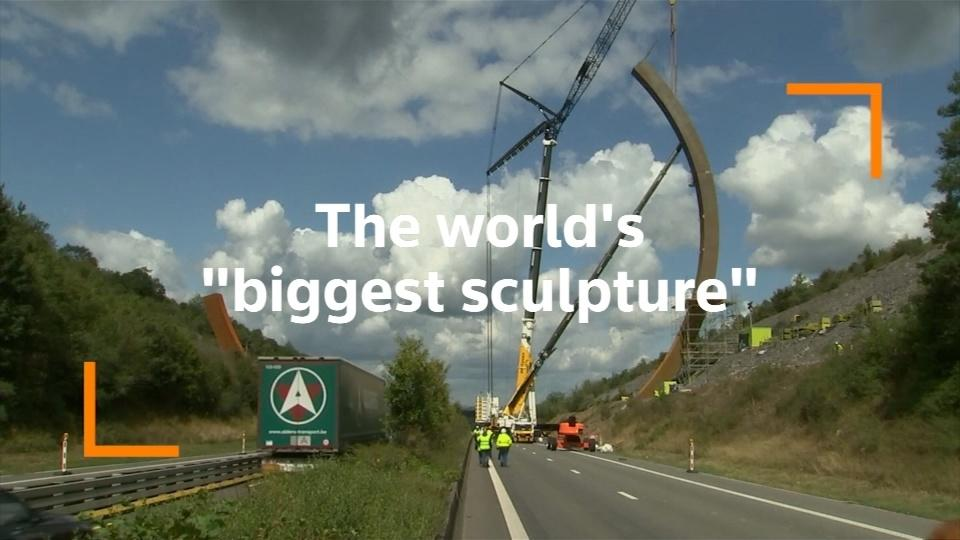 World's 'biggest sculpture' constructed beside Belgian highway