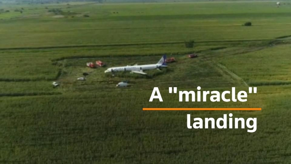 Russian jet makes 'miracle' landing in a corn field