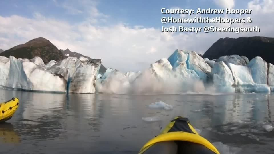 'We survived' - kayakers flee collapsing glacier