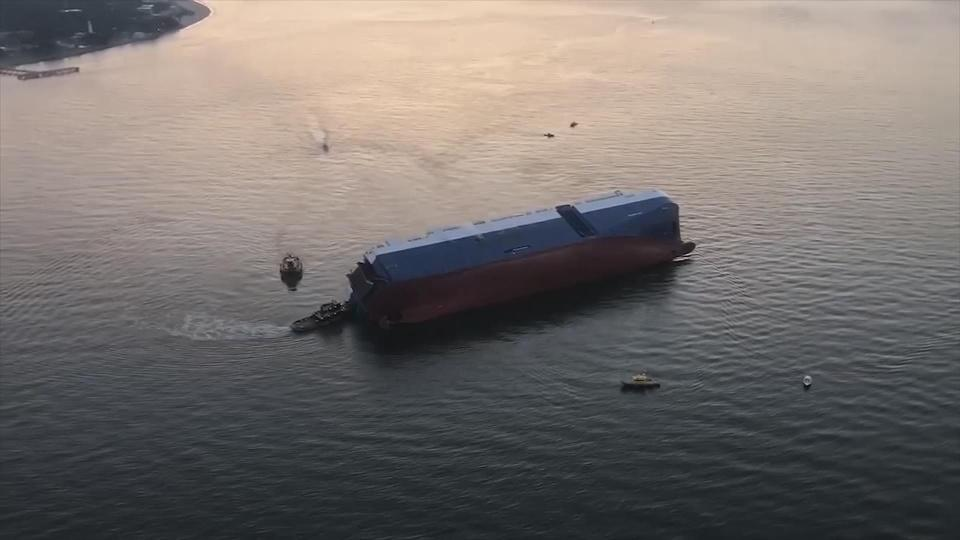 Rescue efforts continue after cargo ship capsized