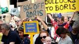 Protesters boo as Boris Johnson arrives for meeting with Luxembourg counterpart