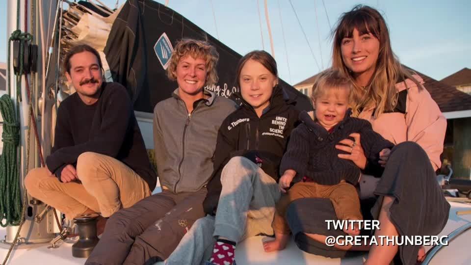 Thunberg sets sail for Spain climate talks