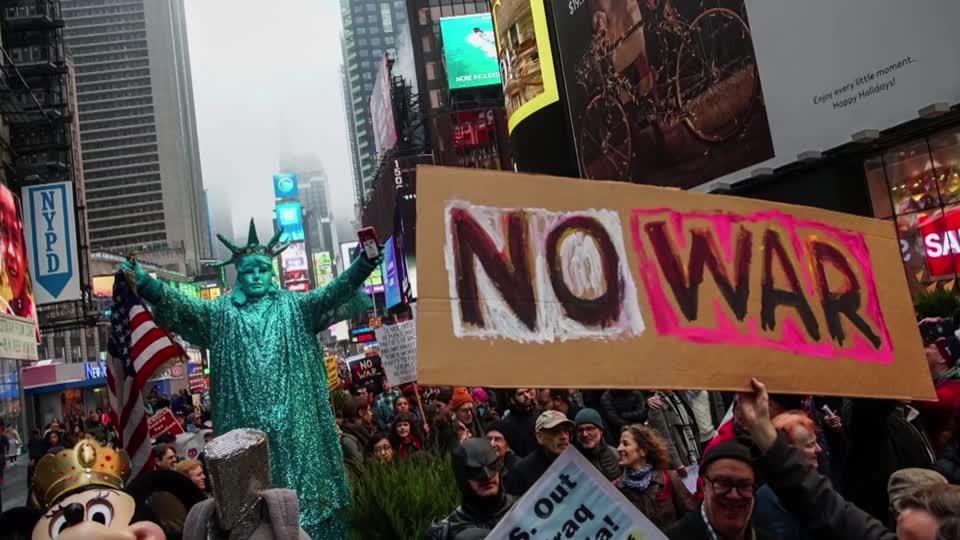 American strike in Iraq prompts anti-war protests in U.S. cities