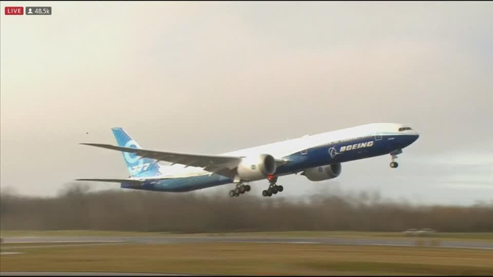 Boeing's 777X takes off on first flight