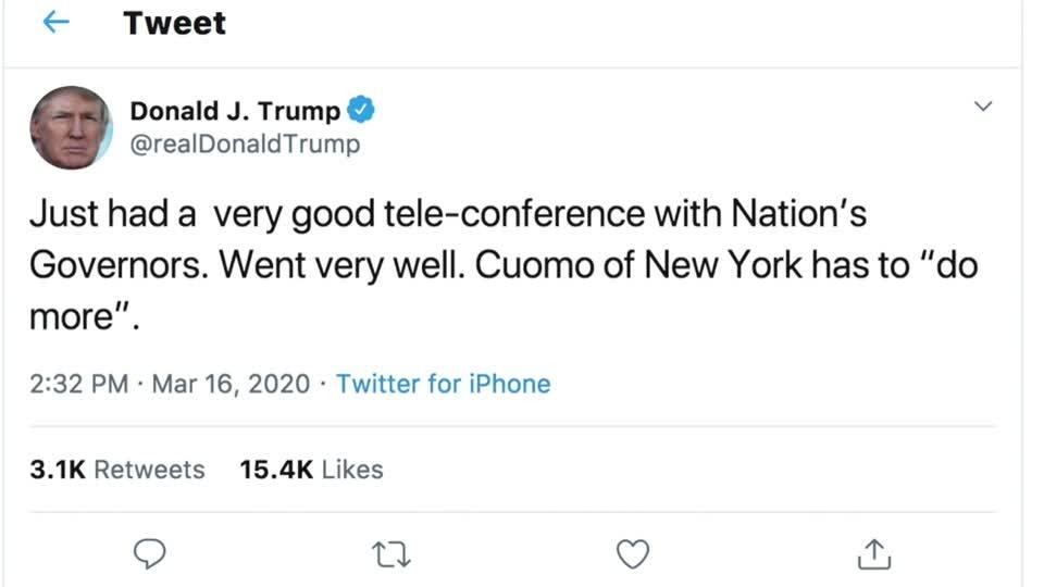 Trump, Cuomo feud on Twitter over coronavirus response