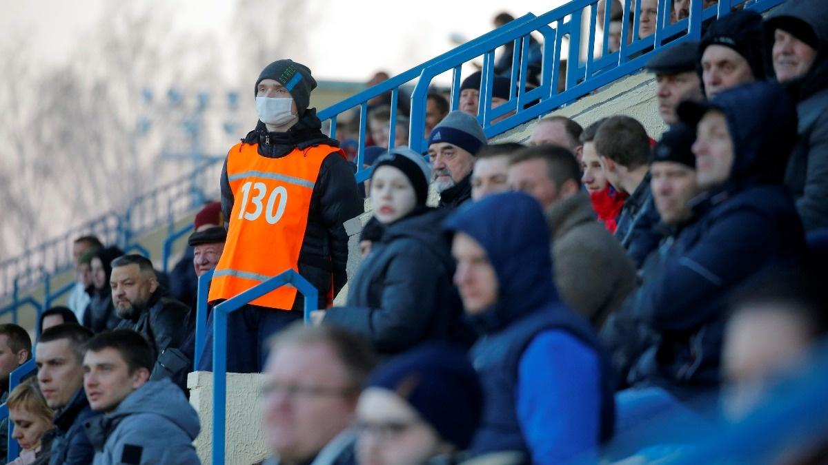 Belarus plays on as world soccer is put on ice