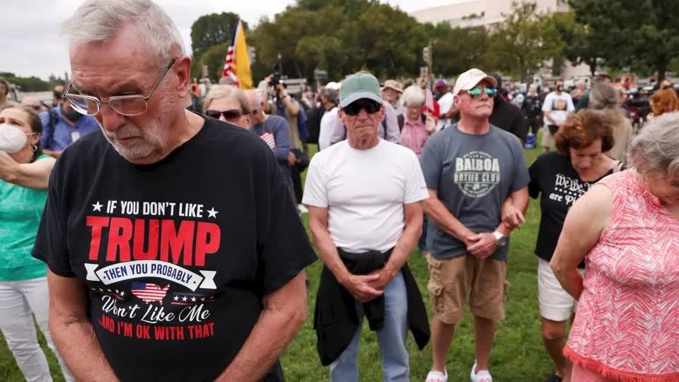 Small pro-Trump crowd rallies at U.S. Capitol