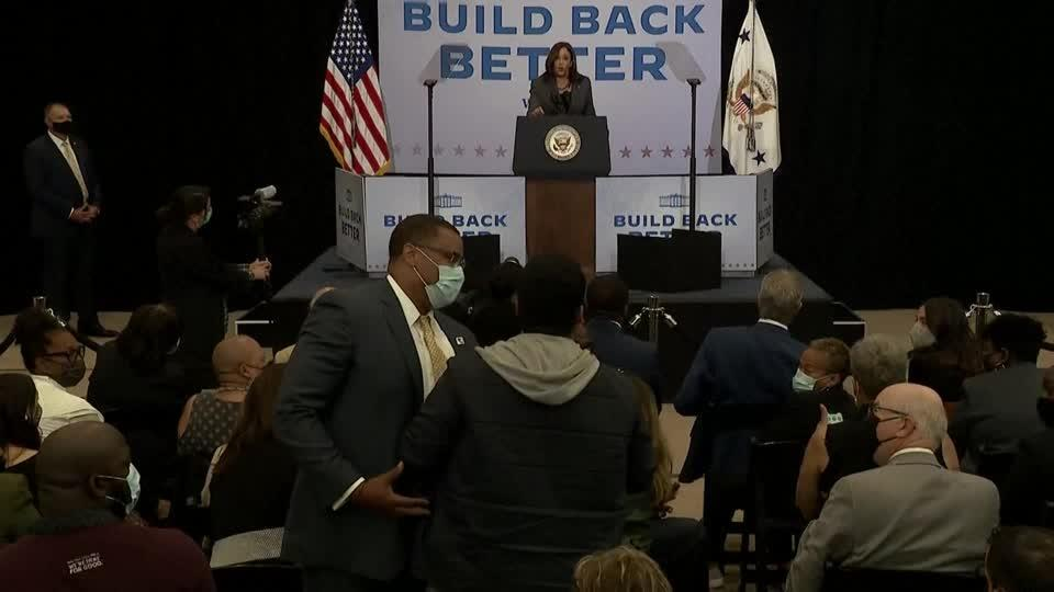 VP Harris heckled as she pushes Build Back Better