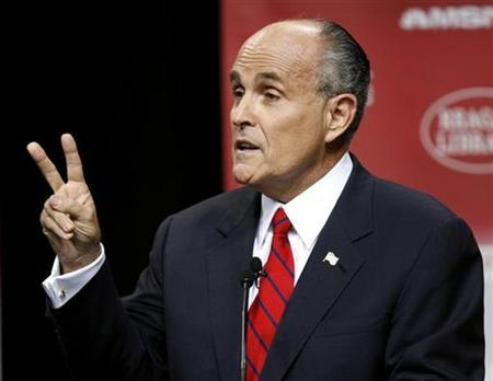 Former New York Mayor Rudy Giuliani speaks during the GOP presidential candidates debate at the Ronald Reagan Presidential Library in Simi Valley, California, in this May 3, 2007, file photo. Giuliani, under fire from conservatives for his support of abortion rights, defended his views on Friday but said there were other important issues in the 2008 White House race. REUTERS/Lucy Nicholson (UNITED STATES)