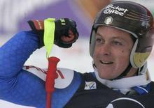 <p>La gioia di Massimiliano Blardone dopo la gara a Bad Kleinkirchheim, in Austria. REUTERS/Calle Toernstroem (AUSTRIA)</p>