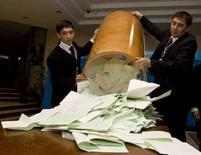 <p>Члены избирательной комиссии открывают урны для голосования после закрытия избирательных участков в Ташкенте, 23 декабря 2007 года. Организация по безопасности и сотрудничеству в Европе (ОБСЕ) считает, что состоявшиеся в воскресенье выборы президента Узбекистана не соответствовали демократическим стандартам ОБСЕ. (REUTERS/Shamil Zhumatov)</p>