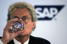<p>Le président du directoire de SAP, Henning Kagermann. Les résultats préliminaires du concepteur de logiciels de gestion sont jugés positifs pour le quatrième trimestre, parce que conformes aux attentes du marché. /Photo prise le 28 août 2007/REUTERS/Vijay Mathur</p>