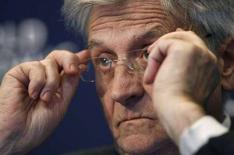 <p>Il presidente della Bce Jean-Claude Trichet al World Economic Forum a Davos. REUTERS/Denis Balibouse</p>