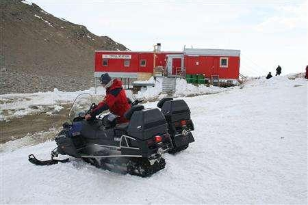 A Norwegian researcher gets ready to drive a snow scooter outside the Troll research station, about 250 km (155 miles) from the sea in Antarctica, January 20, 2008. Aliens are landing in Antarctica. Seeds, spores, mites, lichens and mosses alien to the continent have been brought unwittingly by scientists and tourists, and could disrupt life in the icy wilderness. REUTERS/Alister Doyle