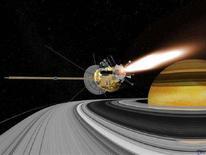 <p>Ricostruzione al computer della sonda spaziale Cassini durante il posizionamento nell'orbita di Saturno, luglio 2004. REUTERS/NASA - JDP</p>