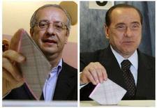 <p>Объединенная фотография голосующих левоцентриста Вальтера Вельтрони (слева) и Сильвио Берлускони в Риме и Милане 13 апреля 2008 года. Сильвио Берлускони может одержать победу на досрочных парламентских выборах в Италии, обойдя кандидата от левоцентристов Вальтера Вельтрони на 2 процентных пункта в нижней палате парламента и на 3 - в Сенате, показал опрос, проведенный итальянским телеканалом Sky TV. (REUTERS/Alessandro Bianchi/Alessandro Garofalo)</p>
