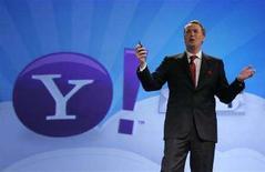 <p>Marco Boerries, vicepresidente esecutivo di Connected Life, Yahoo!, presenta Yahoo! oneSearch 2.0, una nuova versione del motore di ricerca, Las Vegas, 2 aprile 2008. REUTERS/Steve Marcus/Yahoo</p>