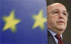 <p>Il commissario europeo agli Affari economici e monetari Joaquin Almunia, il 28 aprile scorso a Bruxelles. REUTERS/Thierry Roge</p>