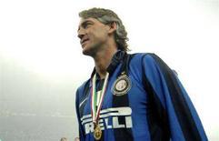 <p>L'allenatore dell'Inter Roberto Mancini. REUTERS/Paolo Bona</p>
