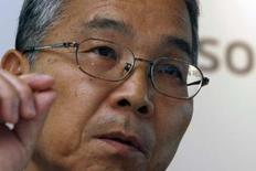<p>Le directeur général d'Elpida, Yukio Sakamoto. Le groupe japonais n'envisage pas de prise de participation dans Qimonda, filiale de puces mémoires de l'allemand Infineon. /Photo prise le 22 mai 2008/REUTERS/Kiyoshi Ota</p>