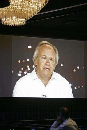 Chairman of NBC Universal Sports & Olympics Dick Ebersol appears on a video screen via satellite from Beijing as he discusses the 3600 hours of Olympic coverage planned during the summer Olympics during the NBC Universal Summer press tour in Beverly Hills, California July 21, 2008. REUTERS/Fred Prouser