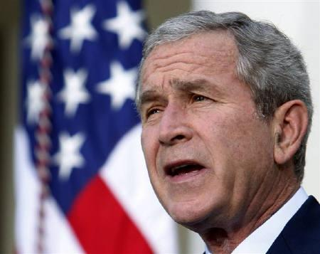 U.S. President George W. Bush makes remarks in the Rose Garden at the White House in Washington August 11, 2008. REUTERS/Jim Young