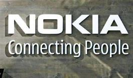 <p>Logo Nokia nella sede generale della compagnia, a Helsinki. REUTERS/Bob Strong (Finlandia)</p>