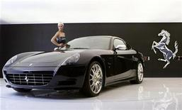 <p>A Ferrari F612 Scaglietti is displayed during the first media day of the 78th Geneva Car Show at the Palexpo in Geneva March 4, 2008. REUTERS/Denis Balibouse</p>