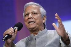 <p>Grameen Bank Founder and Managing Director Muhammad Yunus participates in a panel discussion during the Clinton Global Initiative in New York September 26, 2008. Established by former U.S. President Bill Clinton in 2005, the event is designed to bring donors together with people in need to try to solve global problems. REUTERS/Chip East</p>