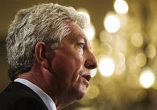 <p>Bloc Quebecois leader Gilles Duceppe speaks to members of the financial community in Toronto October 3, 2008. Canadians will head to the polls in a federal election October 14. REUTERS/Mark Blinch</p>