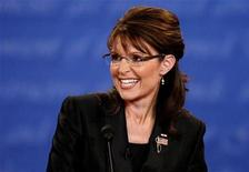 <p>Republican vice presidential nominee Alaska Governor Sarah Palin smiles during the U.S. vice presidential debate at Washington University in St. Louis, Missouri, October 2, 2008. REUTERS/Jim Young</p>