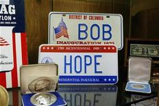 <p>Memorabilia including personalized license plates that belonged to the late Bob Hope are pictured in his home office in Los Angeles, August 18, 2008. REUTERS/Fred Prouser</p>