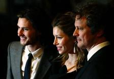"""<p>Actors (L-R) Ben Barnes, Jessica Biel and Colin Firth arrive for the premiere of """"Easy Virtue"""" in Leicester Square, London, October 28, 2008. REUTERS/Luke MacGregor</p>"""