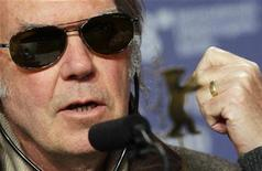 <p>Canadian singer and director Neil Young addresses a news conference at the 58th Berlinale International Film Festival in Berlin February 8, 2008. REUTERS/Hannibal Hanschke</p>