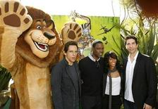 "<p>The character of Alex the lion gestures next to cast members Ben Stiller, Chris Rock, Jada Pinkett Smith and David Schwimmer (L-R) at the premiere of ""Madagascar: Escape 2 Africa"" at the Mann Village theatre in Westwood, California October 26, 2008. REUTERS/Mario Anzuoni</p>"