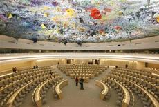 <p>The newly renovated Room XX is pictured after the unveiling ceremony at the European headquarters of the United Nations in Geneva November 18, 2008. REUTERS/Denis Balibouse</p>