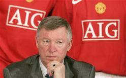 <p>Il manager del Manchester United Alex Ferguson durante una conferenza stampa a Manchester. REUTERS/Phil Noble</p>