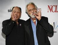 """<p>Actors Cheech Marin (L) and Tommy Chong gesture as they arrive for the taping of the 2008 """"NCLR Alma"""" awards at the Civic Auditorium in Pasadena, California, August 17, 2008. REUTERS/Mario Anzuoni</p>"""
