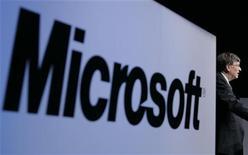 <p>Logo Microsoft in una conferenza stampa a Tokyo. REUTERS/Yuriko Nakao</p>