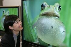 <p>Foto de archivo de una empleada de Sharp frente a una televisón LCD en Tokio, 14 jun 2004. Sharp dijo el viernes que cerrará dos líneas de producción de pantallas LCD en Japón y anunció que trasladará esas líneas a una planta más nueva y eficiente, en momentos en el que la crisis económica aplasta la demanda de productos electrónicos. REUTERS/Yuriko Nakao YN/TW</p>