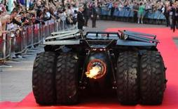<p>The 'Batmobile' arrives for the European Premiere of The Dark Knight in Leicester Square in central London, July 21 2008.REUTERS/Toby Melville</p>